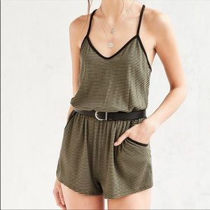 Silence + Noise Green Romper with Black Stripes